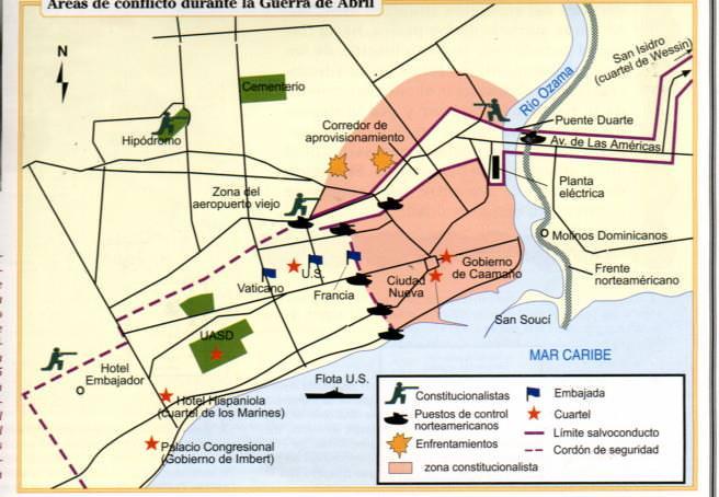 Áreas en Conflicto Durante la Guerra de Abril