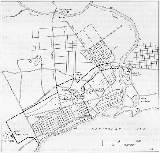 HQ United States Forces and IAPF and quartering of health services during the occupation of Santo Domingo from 1965 to 1966